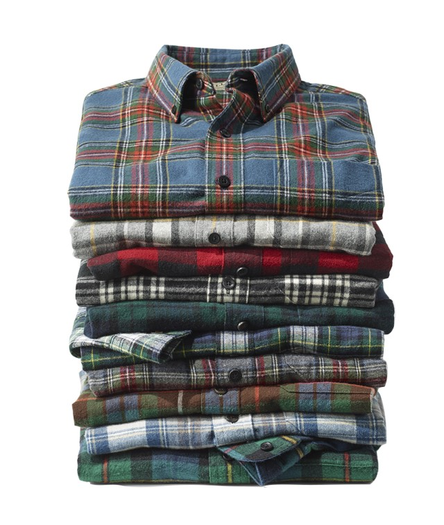 A stack of L.L.Bean Flannel Shirts