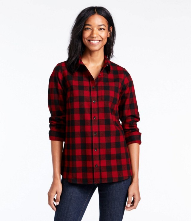 woman in flannel shirt