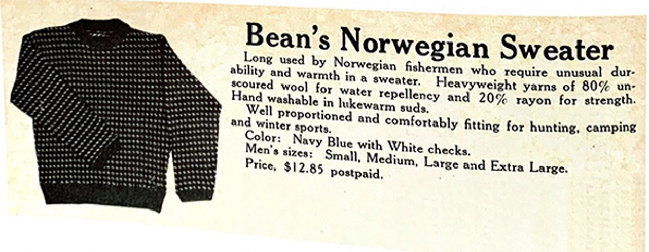 Old L.L.Bean catalog advertisments for Norwegian Sweater
