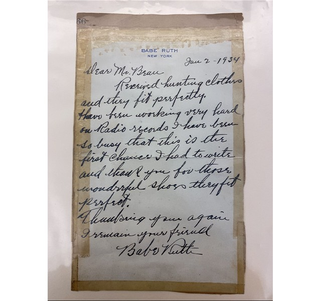 Letter from Babe Ruth, 1934