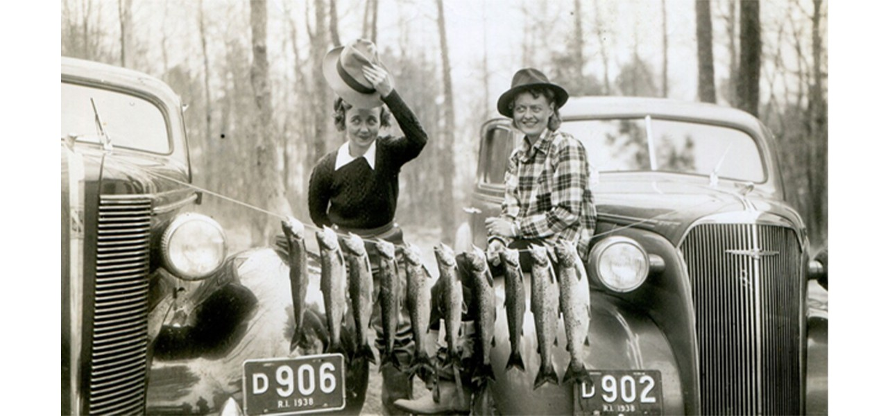 Atha Inerson and Hazel Bean out fishing, undated