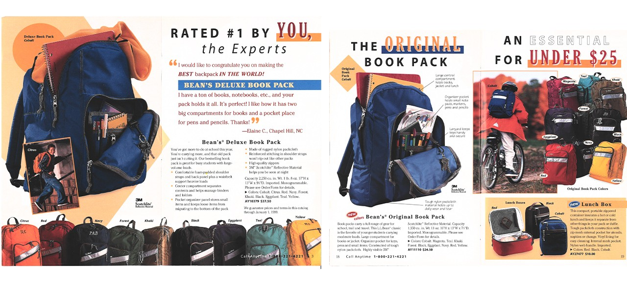 The first installment of L.L.Bean's Book Pack Catalog in 1998