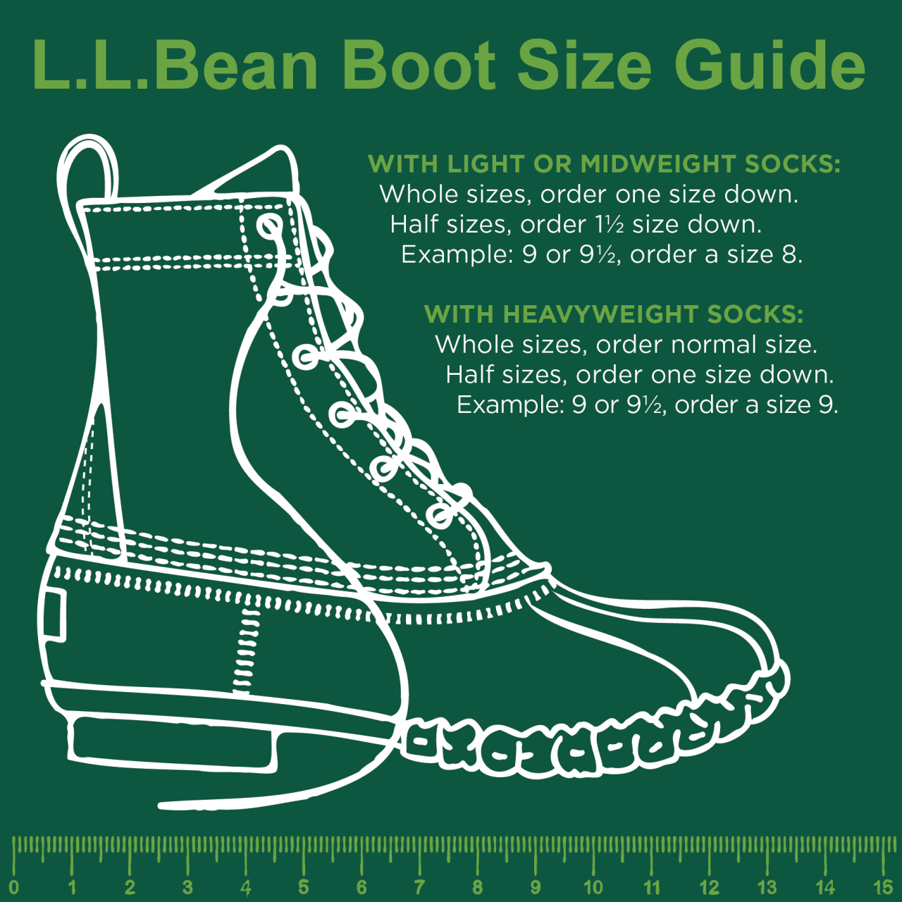 L.L.Bean Boot Sizing Guide