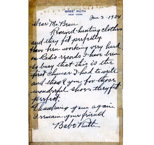 A letter from Babe Ruth, friend and customer of L. L.
