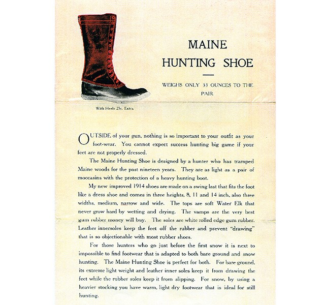 An early ad for the Maine Hunting Shoe