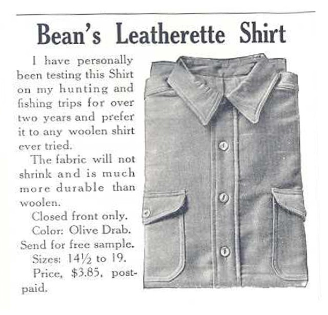 1931 L.L.Bean advertisement for Leatherette Shirt.