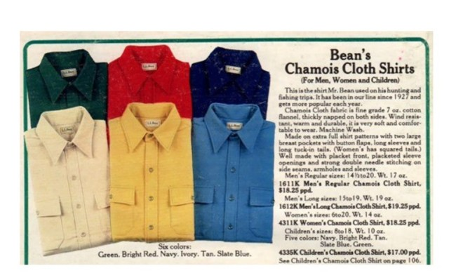 L.L.Bean Chamois Shirt in a 1983 company catalog