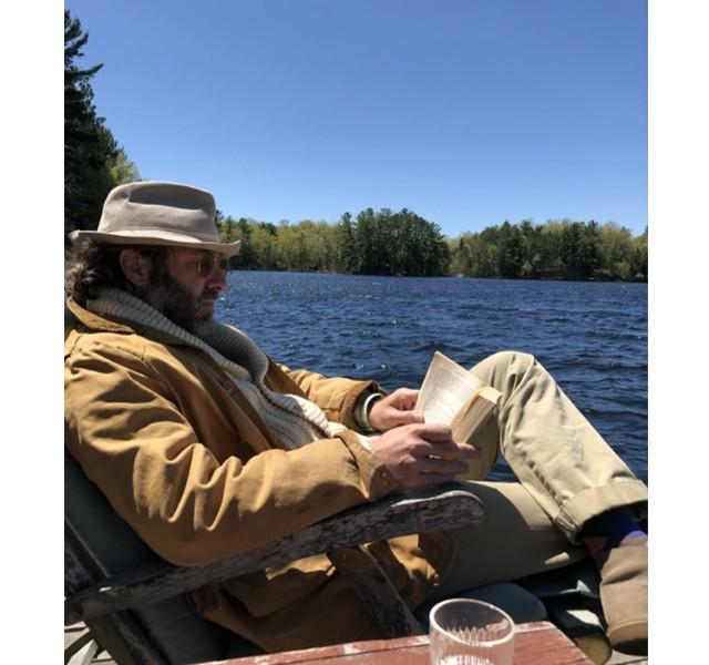 David reading at Pine Lake
