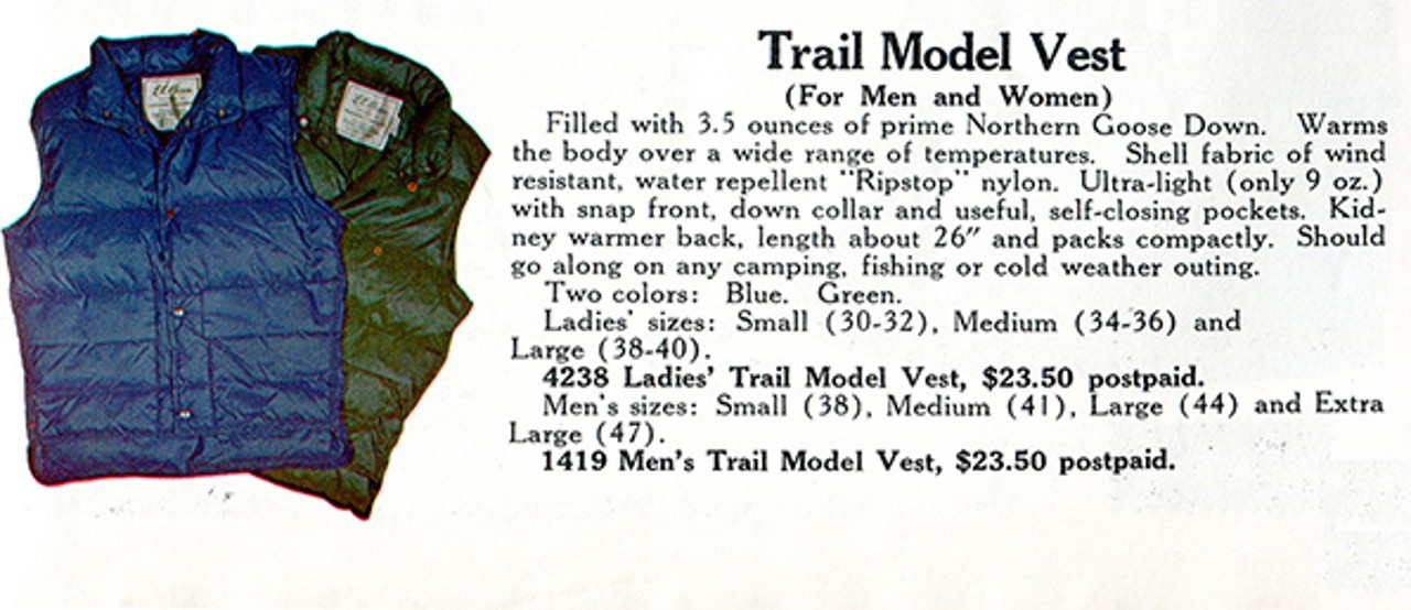 Old L.L.Bean catalog advertisments for Trail Model Vests