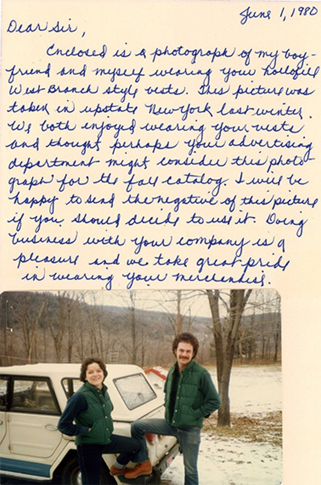 A photo and letter from two L.L.Bean customers in the 1980s in the green Trail Model Vest