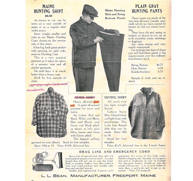 The Guide Shirt marked the first use of flannel in L.L.Bean apparel, appearing in the company's 1921 catalog.