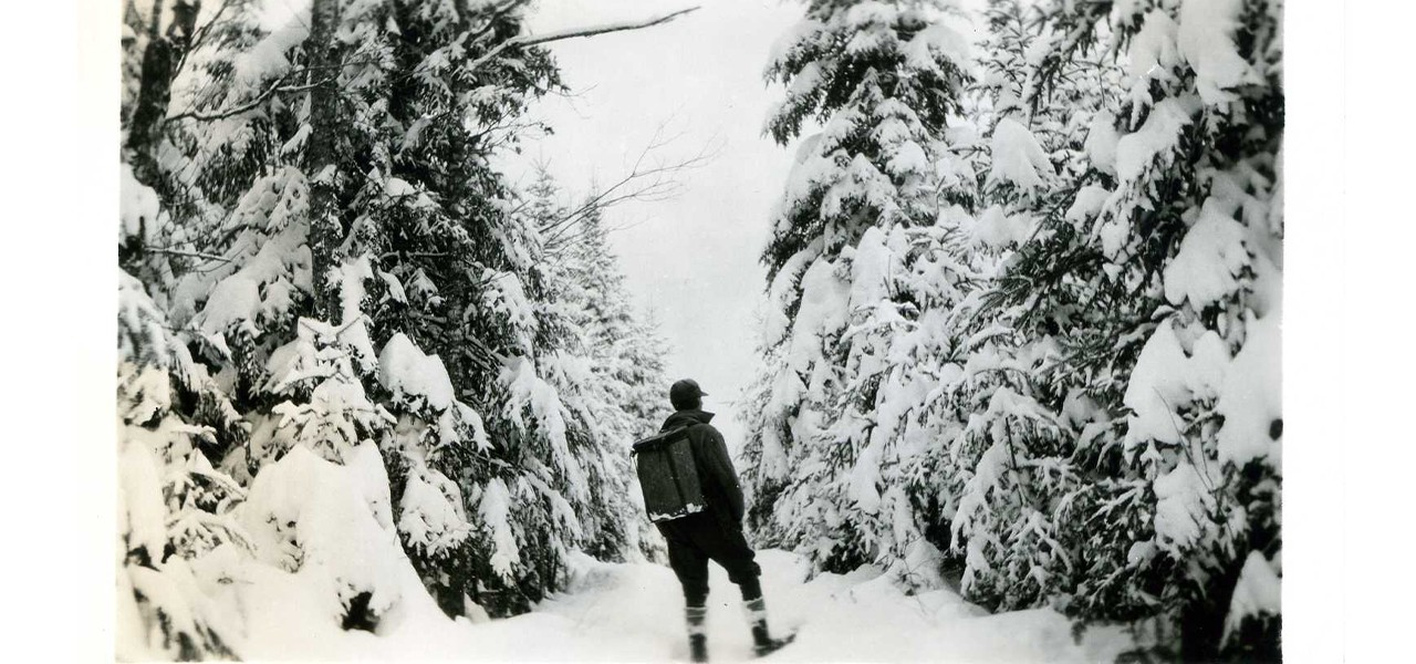 Man Snowshoeing with Pack Basket, Date Unknown
