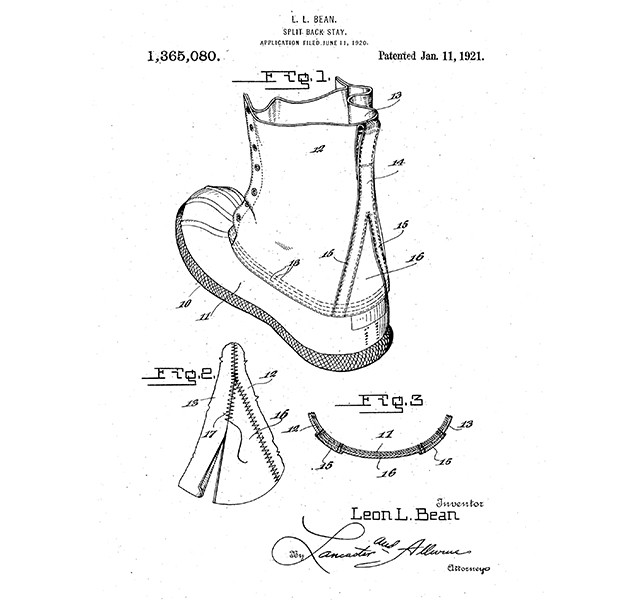 Original patent drawing for the Bean Boot