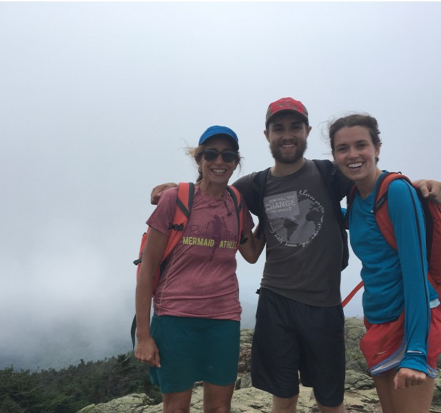 Potter with his mom and sister on a hike in Maine